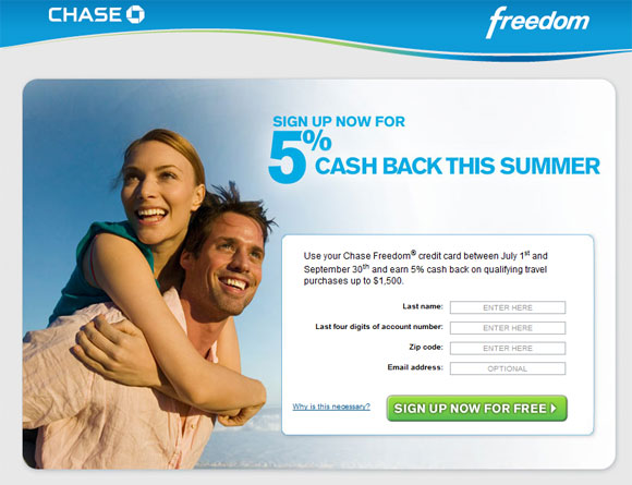 Chase Freedom rotating summer cash back for 2010