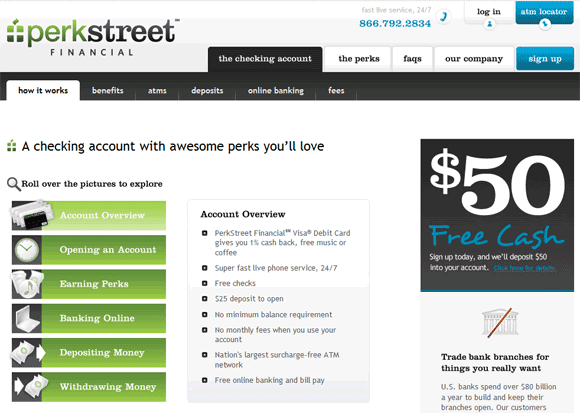 PerkStreet Financial $50 Sign-Up Bonus