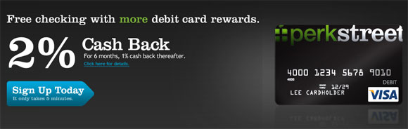 PerkStreet Financial 2% Cash Back Visa Debt Card
