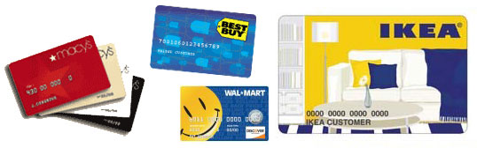 Macy, Best Buy, Walmart, Ikea Branded Credit Cards