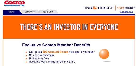 ShareBuilder Costco Sign-up Bonus Promotion
