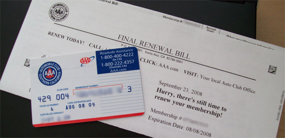 AAA membership renewal bill